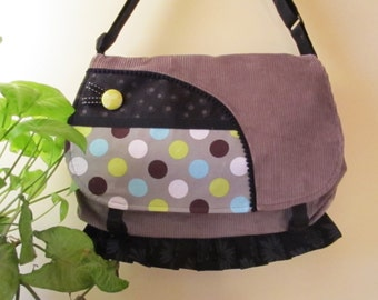 Handbag,bag, gray velvet tote whith dotted