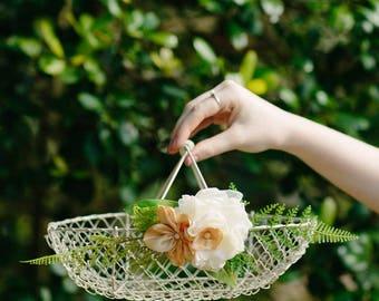 Flower Girl Basket | White Wire Basket | Summer Wedding Basket | Card Basket | Yellow and Ivory Floral | Floral Alternative | Wedding Basket