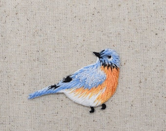 Blue Bird - Bluebird - Facing Right - Iron on Applique - Embroidered Patch - 1123152-A