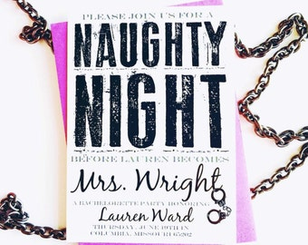 Naighty Night | Girls Night Out | Bachelorette Party invitation | Digital File