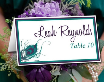 Peacock Wedding Place Card Template   Peacock Feather Wedding Tent Escort Card Jade Green Lapis Purple Wedding Table Card Place Setting