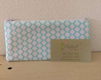 Teal and White Padded Pencil Case / Cosmetic Bag / Essential Oil Bag - 7in