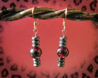 Solid Copper Garnet and Hematite Rondelle gemstone dangle earrings