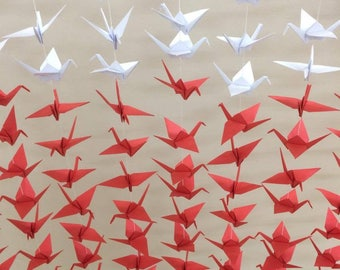 1000 Origami paper cranes ( white; bright red) - 50 strands set of 20 cranes - wedding decoration - party decoration ...