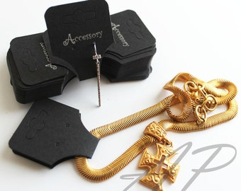 50 pcs of Imprinted Jewelry Paper in Black for Earrings Necklace Ponytail holder hairband