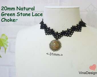 20mm Natural Green Stone Lace Choker Green Gemstone Pendant Choker Black Lace Necklace Birthday Gift idea Below 15 dollar Mother's Day Gift
