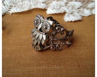 Owl Ring, Owl Jewelry, Silver Ring, Filigree Ring, Bird Ring