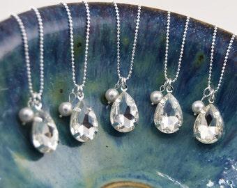 SET of 5, FIVE Crystal Bridesmaid Necklaces, Wedding Bridal Necklace,Swarovski Crystal Necklace, Bridesmaid Necklace sets