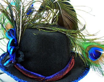 """MINI Top HAT """"Birdie"""" Victorian Peacock Irradecent Hatband Peacock, Black Feathers, Blue Crocheted Edge Beads, Cosplay, Costume, Role Play"""