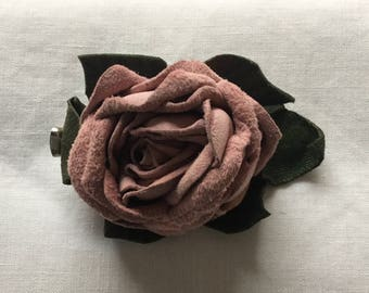Pink Rose Corsage, Dusky Pink Suede Leather Rose Corsage, Leather Flower, Rose Hair Clip, Hand Made Leather Rose, Wedding Corsage
