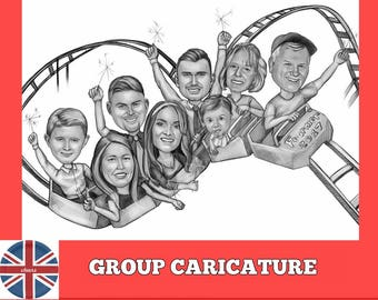 Group caricature, thank you gift idea for employees, team drawing, family caricarute