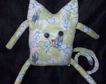 Art doll, made from repurposed fabric. Recycled. Kitty cat.
