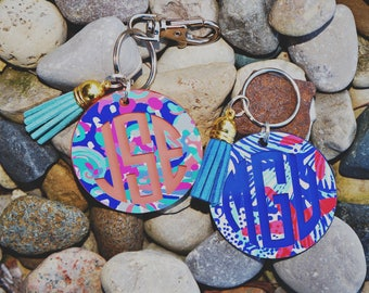 Lilly Pulitzer Inspired Keychain with Monogram