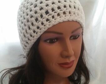 Handmade crochet white beanie