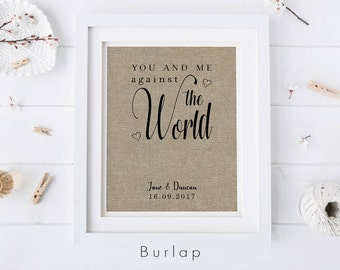 You + Me Against The World • Gift for Husband or Wife • Couples Anniversary or Engagement Gift • Gift for Her • Personalized Fabric Print