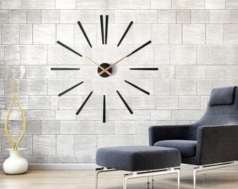 Large Modern Wall Clock - Gold Elegance 75 cm/29.5 inch