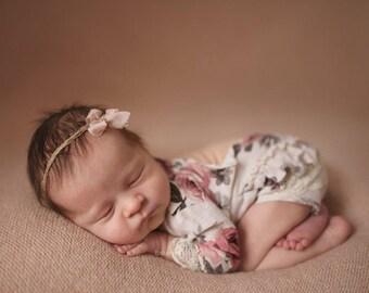 newborn long sleeve romper (Provence) - photography prop - cream, peach, onesize, baby girl, newborn outfit