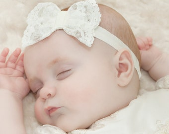 Scarlett Christening Headband. Baptism wear. Christening accessories from Adore Baby.