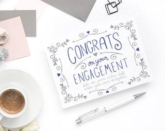 Greeting Card - Congratulations Engagement - Funny Engagement Card, Formal Engagement, Engagement Gift, Wedding Gift, Sister Engagement