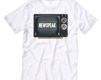 Newspeak { Alternative Facts } 1984 Inspired Graphic Print TShirt. Black / White Mens / Womens Unisex Short Sleeve Tee. George Orwell 1984