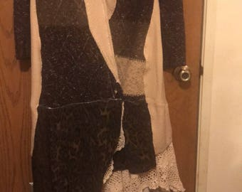 Resale, Eco friendly, Mori girl, Lagen look, Upscale, Vintage argyle Sweater coat/dress with wrap closure.
