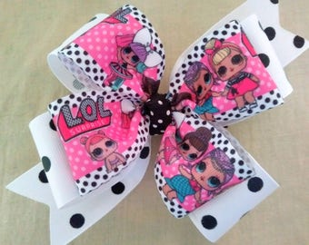 Pink and Black Boutique Hairbow, Black and White Polka Dot Hair Bow
