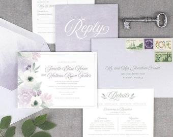 purple watercolor wedding invitations, purple floral wedding invitation, spring wedding, summer wedding, boho wedding, printed invitations