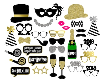 2018 New Year's Photo Booth Props . Printable . Instant Download . DIY . Black, Gold Glitter, Silver Glitter . New Year's Eve Party