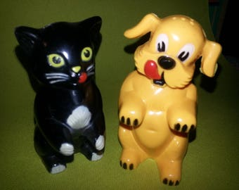 Vintage Plastic Cat and Dog Salt and Pepper Shakers