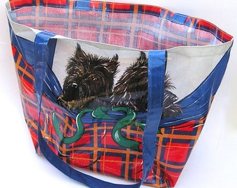 Vintage Scottie Dog Tote Bag . Made in Britain . Dogs . Scotties . Scottish Terrier