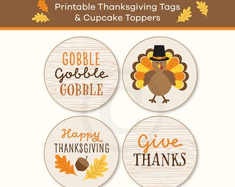 Thanksgiving Tags, Cupcake Toppers, Printable, Instant Download, 2 Inch Tags
