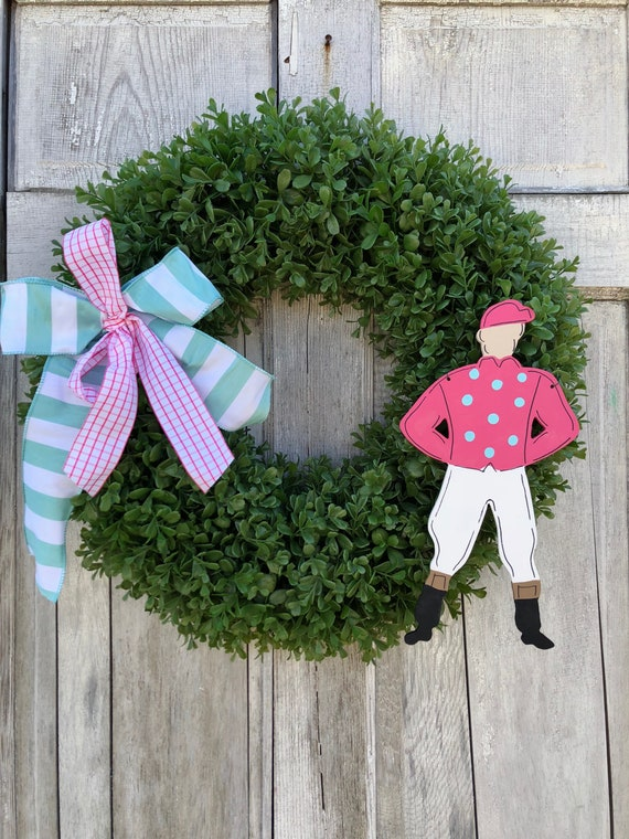 Derby wreath, Jockey door hanger, Derby, boxwood wreath, Kentucky Derby decoration, Spring horse racing wreath, Jockey wreath