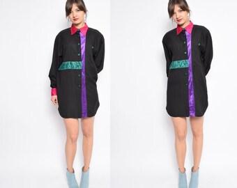 Vintage 80's Color Block Button Blouse / Black Button Shirt / Multi Color Velvet Long Sleeve Blouse - Size Large