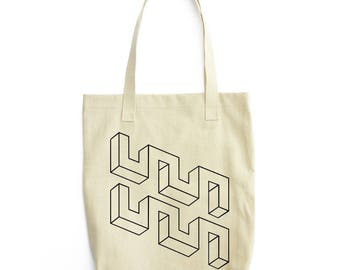 Weird Meanders optical illusion tote bag