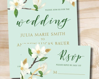 Gold Glitter and White Floral Turquoise Wedding Invitation and Response Card Invitation Suite