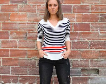 Contrast Striped V-Neck Sweater (Free Shipping)