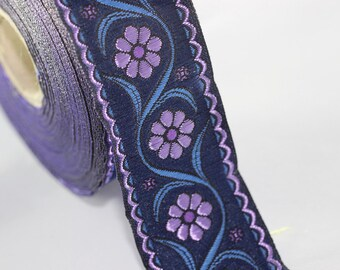 22 mm purple Floral Embroidered ribbon (0.86 inches), Vintage Jacquard, Floral ribbon, Floral trim, woven jacquard, jacquard ribbons, 22938