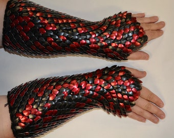 Armor Gauntlets in knitted Dragonhide Scalemail Elbow Length Fully Scaled, Custom Made for You