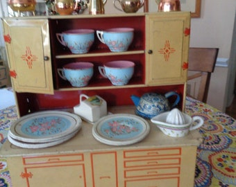 Large Kitschy Wolverine Vintage Toy Hoosier cabinet Cupboard filled with Retro Child's Dishes
