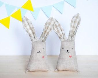 Stuffed bunny rabbit, pure linen toy, heirloom baby rabbit, soft fabric bunny, grey bunny with heart, woodland animal, toddler toy