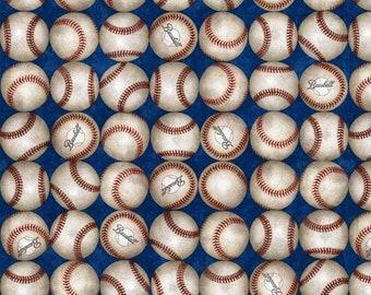 Quilting Treasures Grand Slam Baseball Blue Fabric 24912-Y BTY