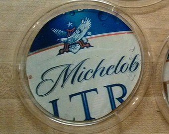 Set of 4 upcycled beer coasters: Michelob