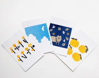 4 postcards of the Seasons