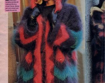 Sandra Knitting Magazine Pattern February 1992 Mens Womens Long Hooded Sweater Coat, Penguin Wrapped in Mohair Childs Sweater