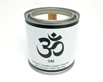SoyBright™ OM Symbol Half Pint Paint Can Soy Wax Candle | Frosted Birch and Juniper Scented | Wooden Wick | Zen Theme | No Phthalates - 8 oz