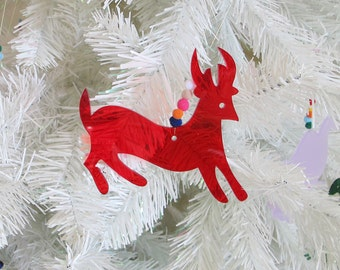 Deer Otomi Mexican plexiglass and pom pom Christmas ornament