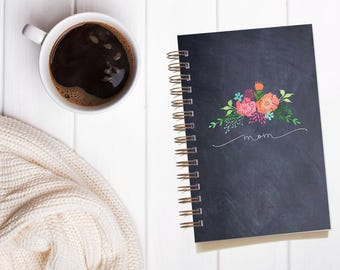Mother's Day Gifts. Personalized Chalkboard Floral Notebook. Gifts for Mom. Customized Notebook. Bullet Journal Notebook. Custom Journal.