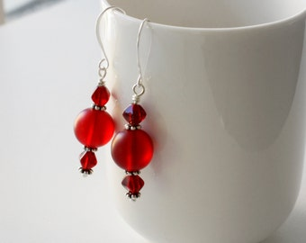 CLEARANCE Red Bead Earrings, Scarlet Red Earrings, Glass Bead Earrings, Dark Red Earrings, Frosted Glass Earrings, Formal Earrings