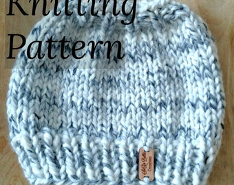 PATTERN // Knit Messy Bun Hat Pattern // Ponytail Hat // Adult & Child Sizes