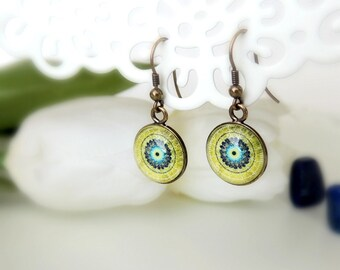 Green Earrings EARTH MANDALA Dangle Earrings Jewerly with Meaning Green Mandala Mandala Art Drop Earrings Mandala Jewelry Gift for Women
